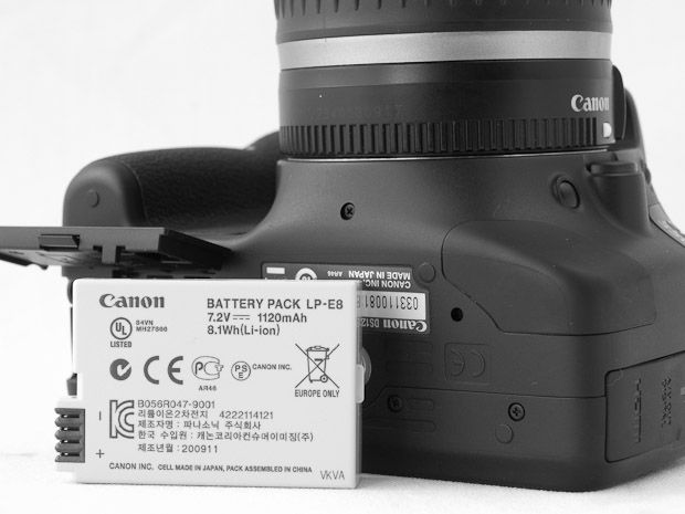 Canon 550D test review batterie