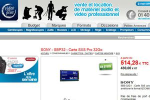 Carte SxS Vidéo Plus sony ex1r test review