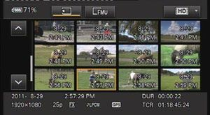 Sony FS100 test review avis menus en mode lecture