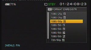 Sony FS100 test review avis menus