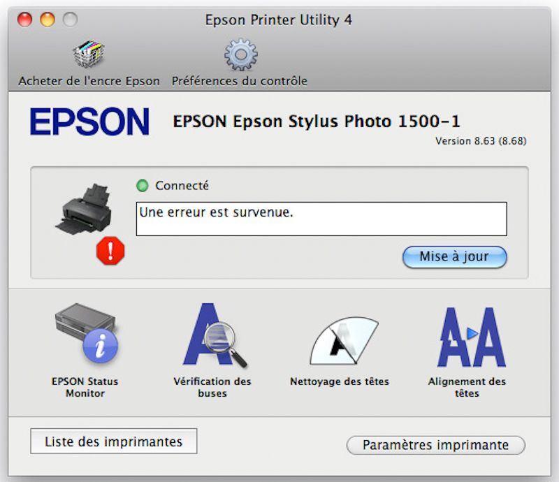 Epson Stylus Photo 1500W : pilote