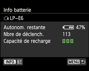 Canon 70D menu batterie