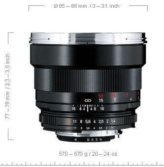 Carl Zeiss Planar 85 mm f/1,4 ZE dimension test review