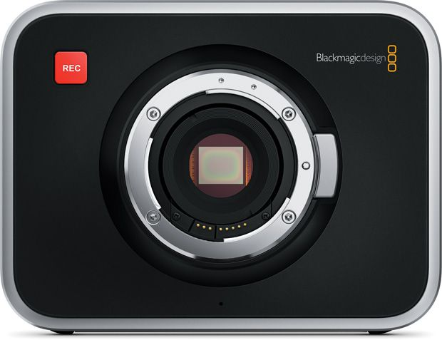 Caméra compacte Blackmagic Deisgn Cinema Camera de face, capteur