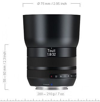 Carl Zeiss Touit Planar 32 mm f/1,8
