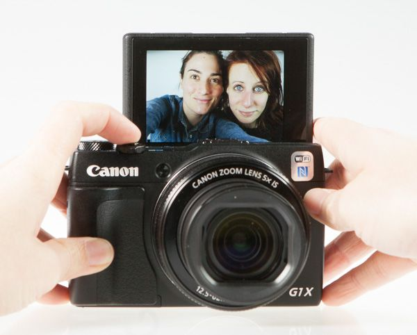 Canon G1X mark II test review écran selfie