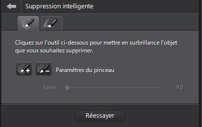Cyberlink PhotoDirector 5, outil Suppression intelligente, boîte de dialogue