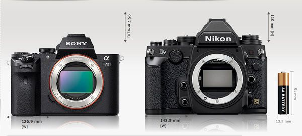 Sony A7 2 comparaison taille Nikon Df