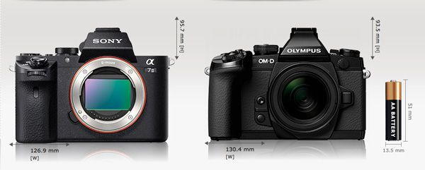 Sony A7 2 comparaison taille Olympus E-M1