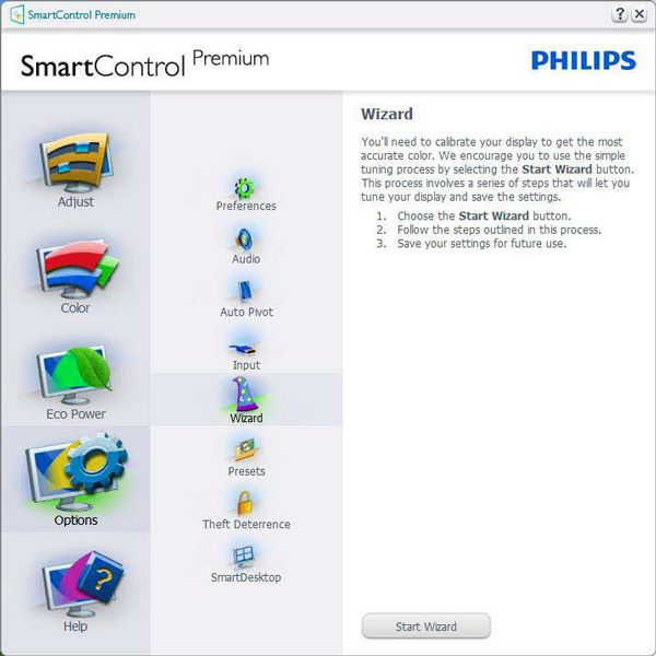 Philips 272P4A, interface et menus