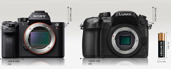 Sony A7R 2 comparaison taille Panasonic GH4