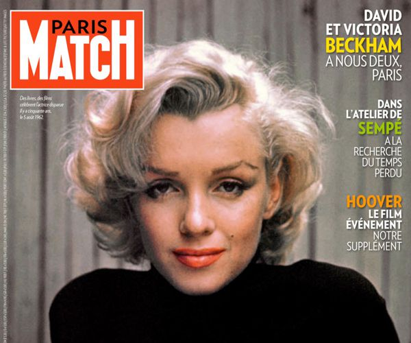 couverture Paris Match Marilyn Monroe, anniversaire de sa disparition