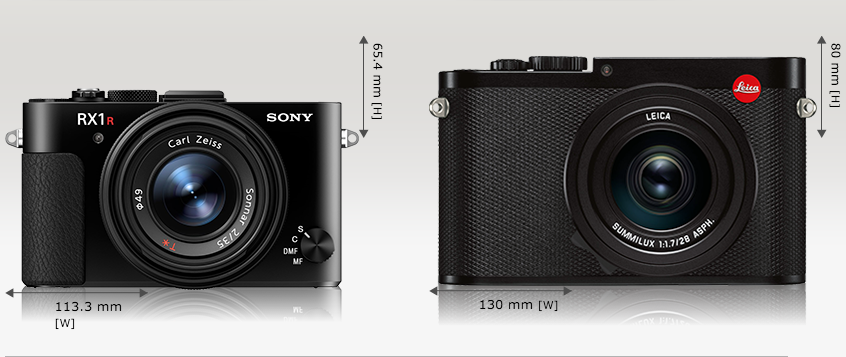 Sony RX1R Mark 2 comparaison taille Canon Leica Q (typ 116)