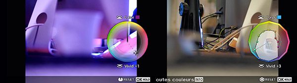 Olympus Pen-F test review color creator interface graphique
