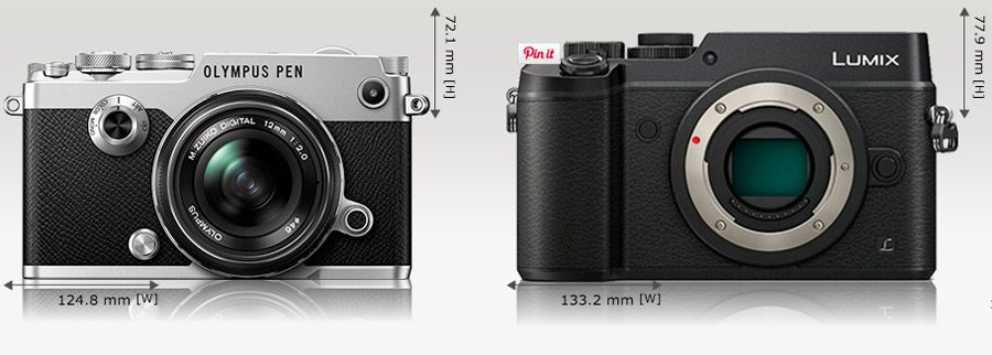 Olympus Pen F vs Panasonic GX8 dimensions