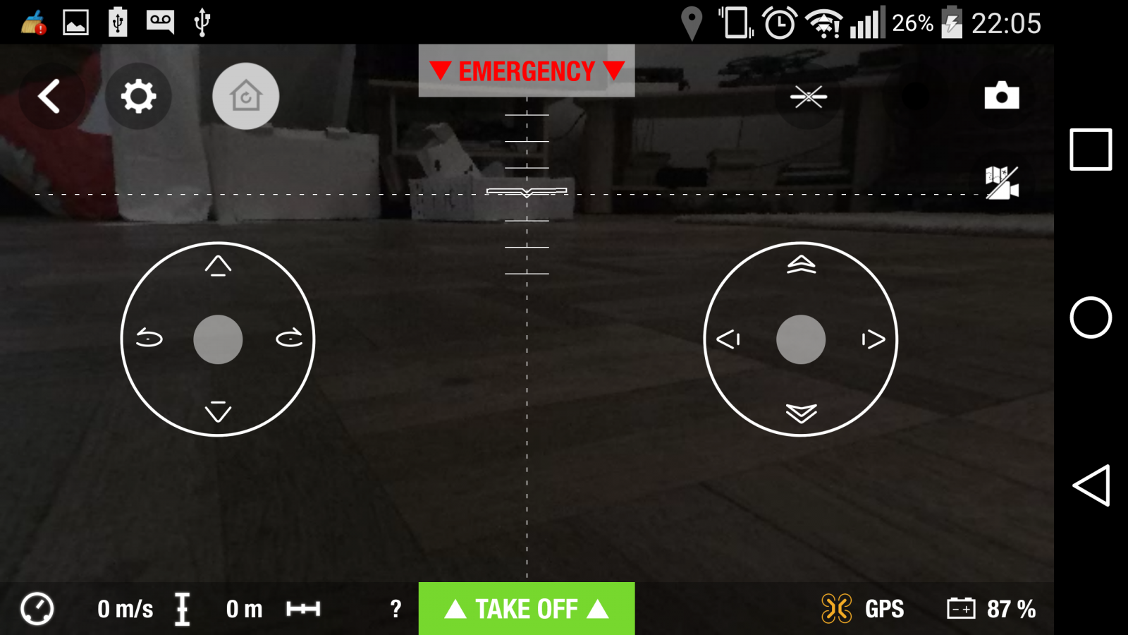 Drone Parrot Bebop 2, test review, app Freeflight 3, interface de vol, take off