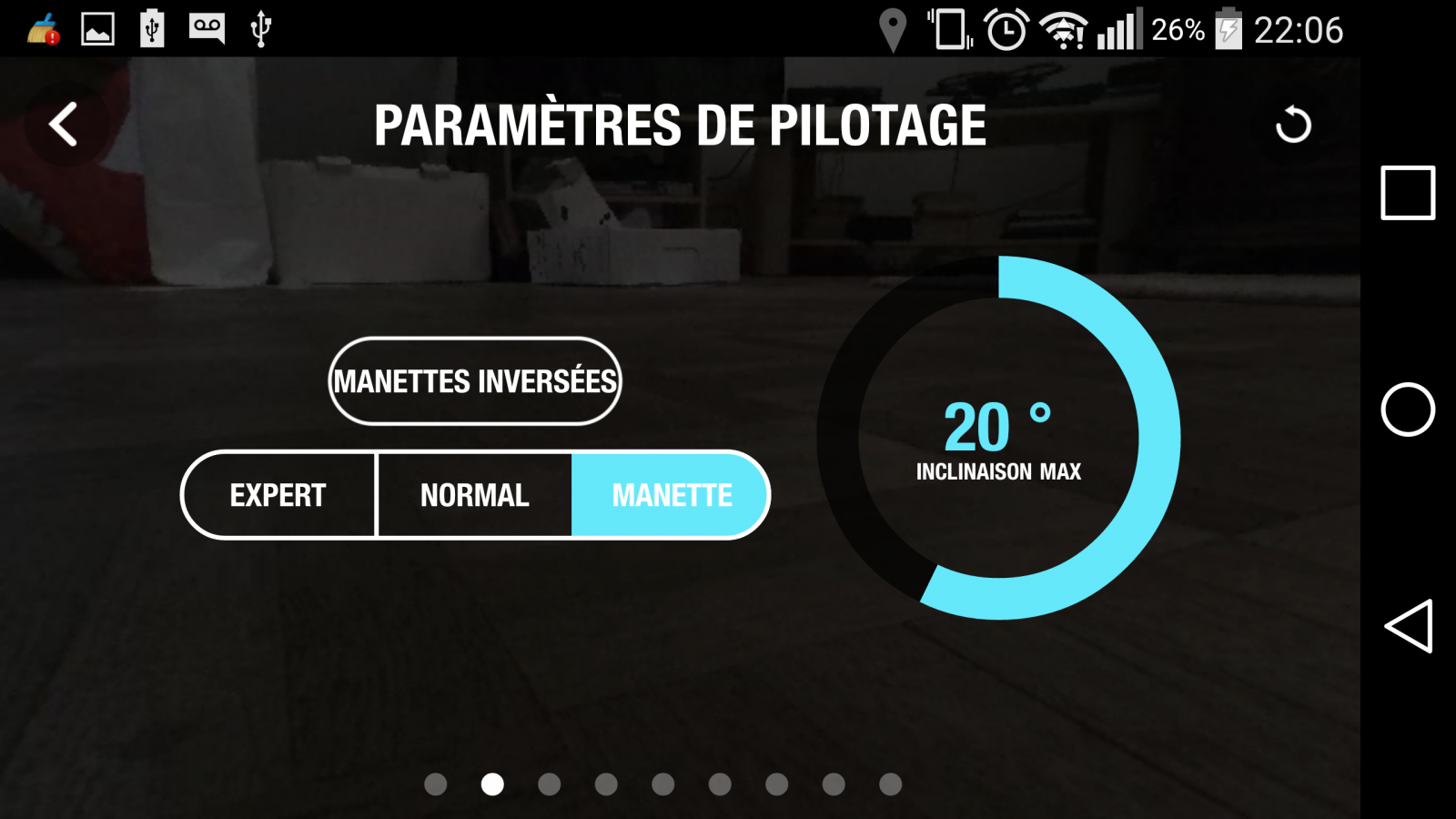 Drone Parrot Bebop 2, test review, app Freeflight 3, interface pilotage, écran 2, paramètres de pilotage