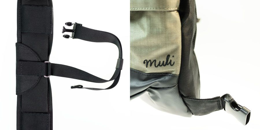 Sac photo Crumpler Muli 9000, clips et attaches, détail