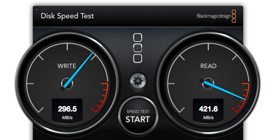 Test disque SSD externe Sony SL-BG1 Blackmagic Disk Speed test