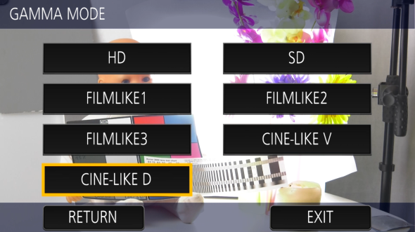 Panasonic DVX200 test review menus