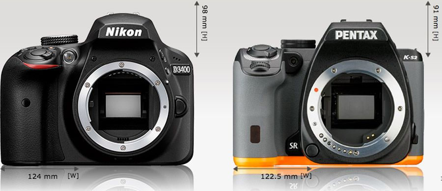 Nikon D3400 test review comparaison dimensions Pentax K-S2