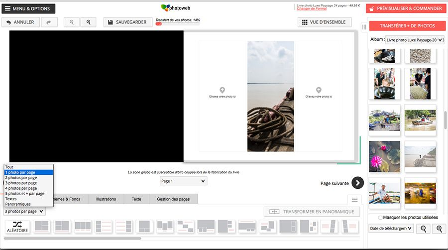 L'interface de conception de Photoweb.