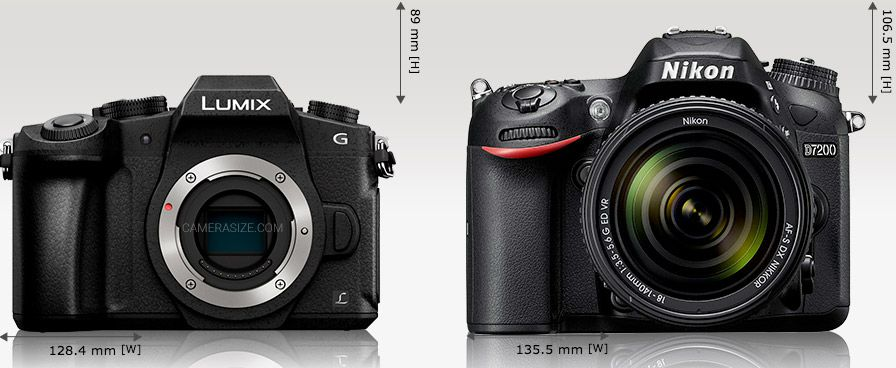 Panasonic G80 vs Nikon D7200 dimensions