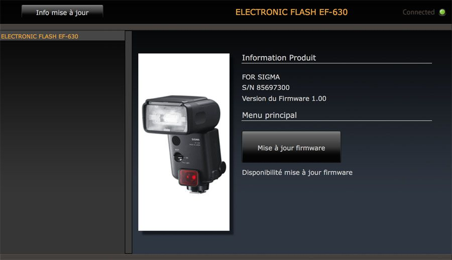 Test flash cobra Sigma EF-630 mise à jour dock FD-11 Optimization Pro