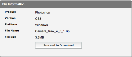 Adobe Camera RAW 4.3.1 Windows