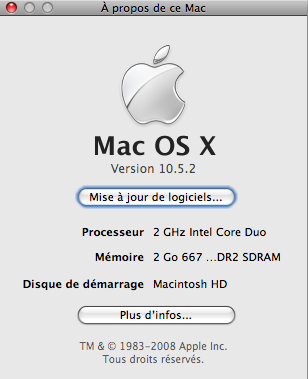 Mac OS X 10.5.2 Apple