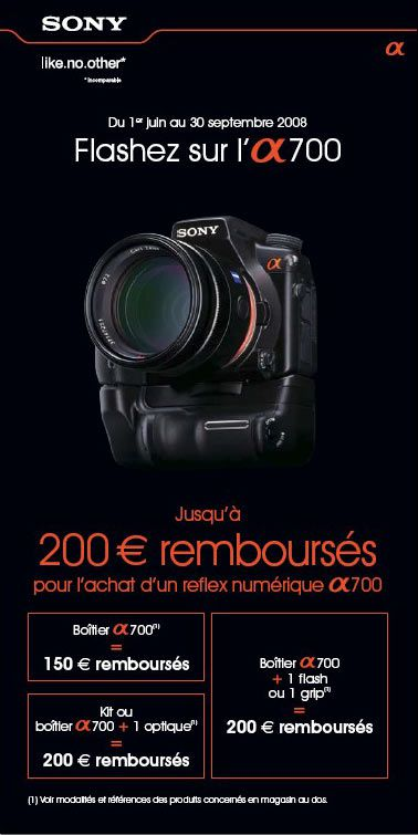 sony offre remboursement alpha 700