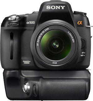 Sony Alpha A550 face grip alimentation