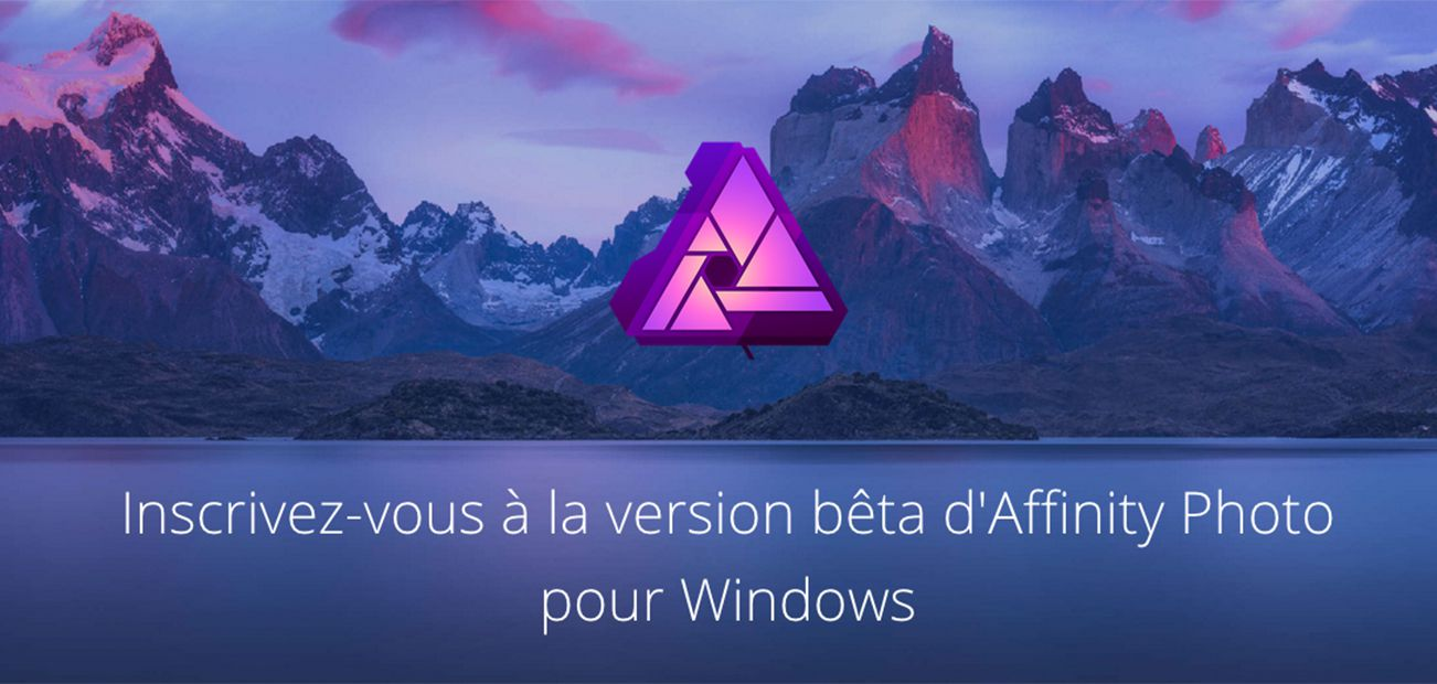 affinity photo windows, page d'inscription en ligne, capture d'écran
