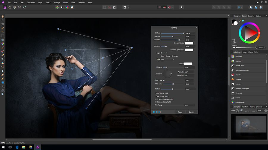 affinity photo pour windows, interface de traitement des images, capture d'écran
