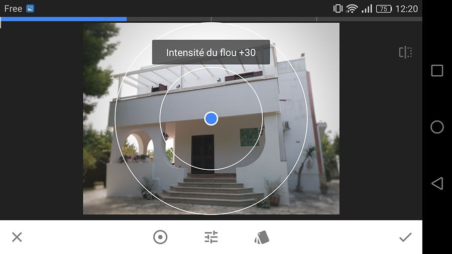 Snapseed 2.13 prise en main interface effet focus
