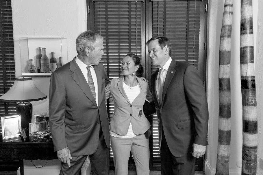 Shaealh Craighead with George W. Bush and Marco Rubio