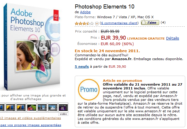 adobe photoshop elements 10 en promotion
