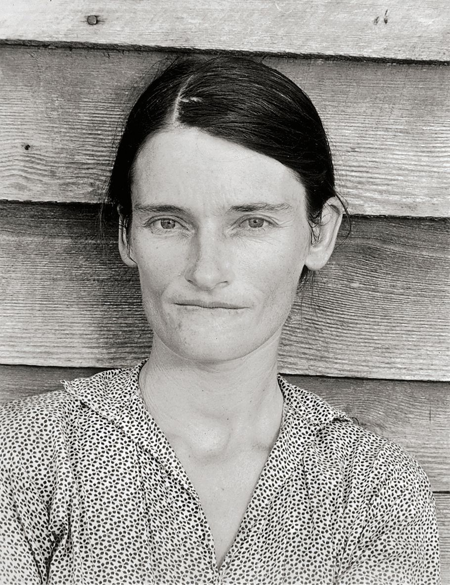 Portrait d'Allie Mae Burroughs en noir et blanc. Photo Walker Evans