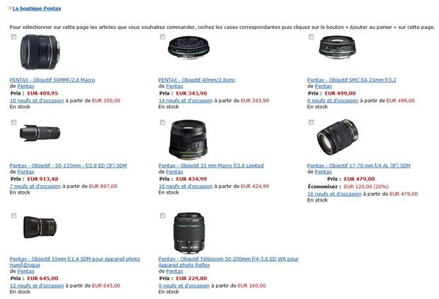 Amazon reduction 10% optique Pentax