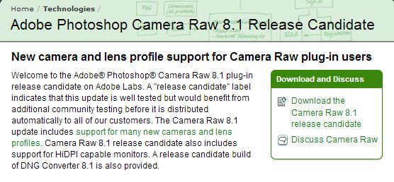 Camera Raw Adobe 8.1 bêta