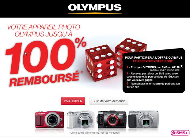 Offre remboursement Olympus