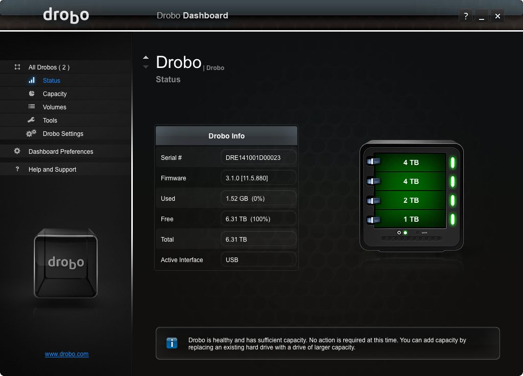 Drobo Gen3, interface