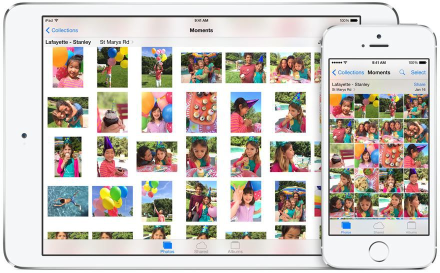 Apple app Photo iOS 8, moments
