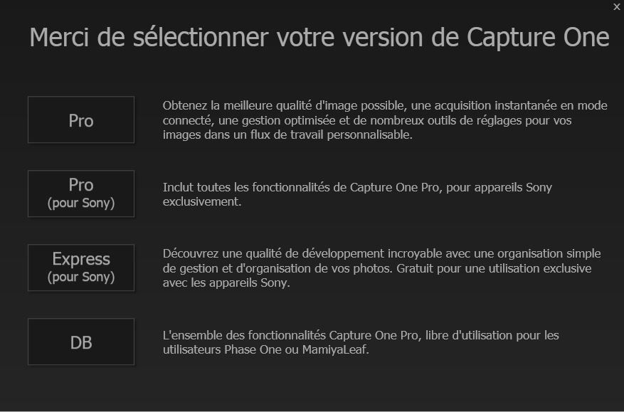 Capture One Pro 8, capture d'écran, démarrage de la nouvelle version