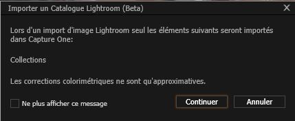 Capture One Pro 8, capture d'écran, importer un catalogue Lightroom