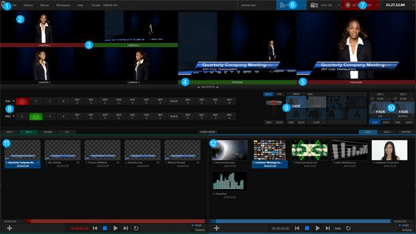 NewTek TriCaster Mini HD-4, interface, capture d'écran