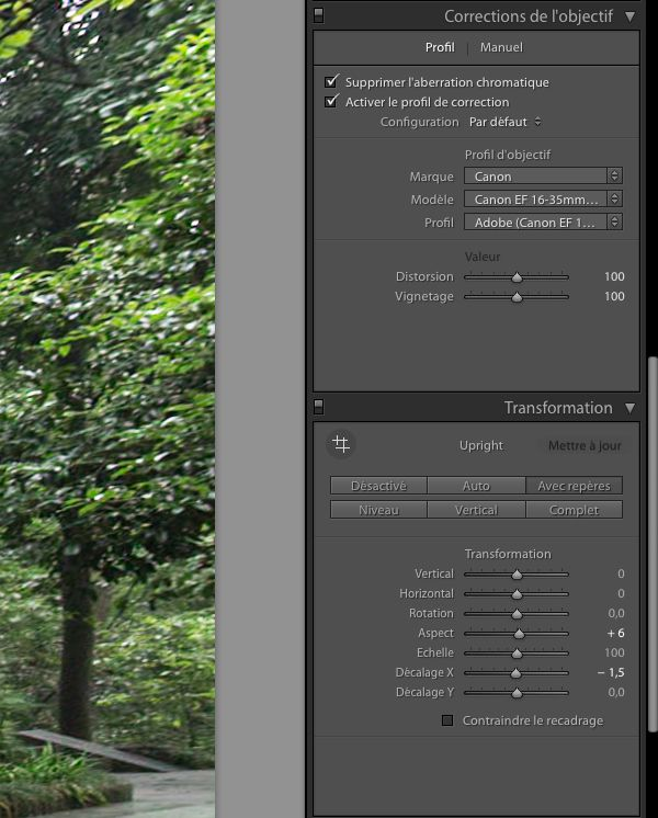 Nouveauté Lightroom 2016.6 / 6.6 menu Upright