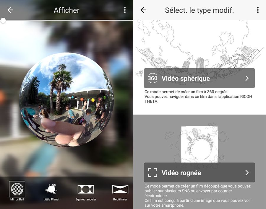 Ricoh Theta+ Video Android, capture d'écran