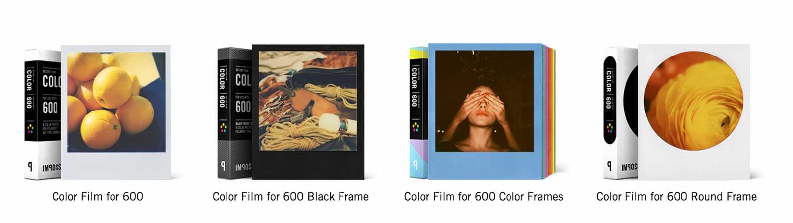 Test, Impossible Project, différents films Impossible couleurs.